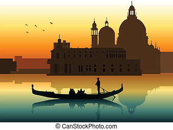 Venice - Silhouette illustration of people on gondola in...