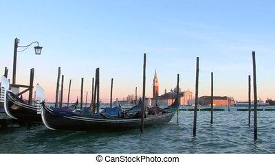 venice gondola 05 - Gondolas moored in San Marco, Venice...