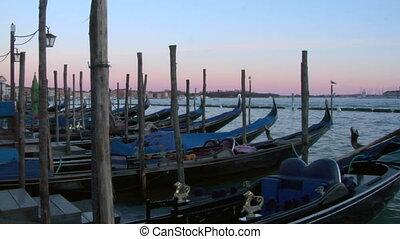 venice gondola 08 - Gondolas moored in San Marco, Venice...