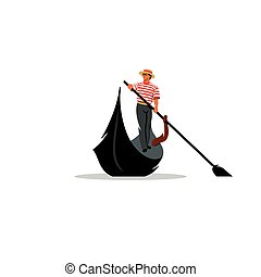 Venice gondola, gondolier rowing oar sign. Vector...