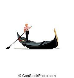 Venice gondola, gondolier rowing oar sign. Vector ...