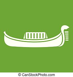 Venice gondola icon green - Venice gondola icon white...