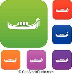 Venice gondola set collection - Venice gondola set icon in...