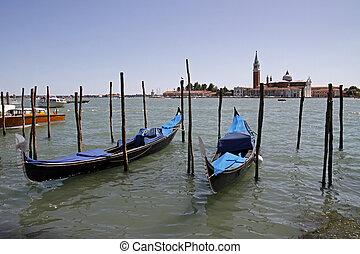 Venice, gondolas on the Grand Canal