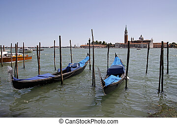 Venice, gondolas on the Grand Canal