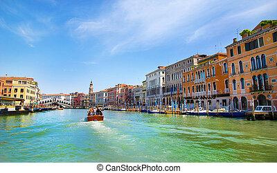 Venice Grand canal and Rialto Bridge, Italy