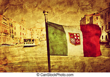 Venice Grand Canal and the flag of italy. Vintage art
