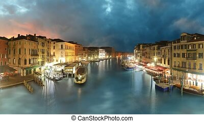 Venice, Grand canal at sunset - time lapse