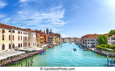 Venice Cannaregio grand canal or Canal Grande view from Ponte degli Scalzi bridge next to railway station. Italy Europe.