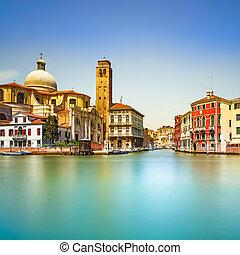 Venice grand canal, San Geremia church landmark. Italy, ...