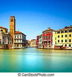 Venice grand canal, San Geremia church campanile landmark. Italy, Europe. Long exposure photography.