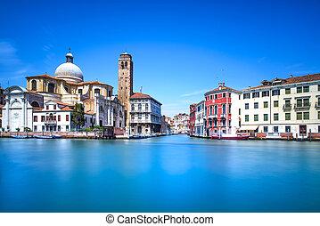 Venice grand canal, San Geremia church landmark. Italy