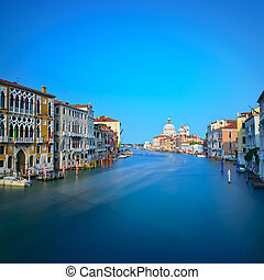 Venice grand canal, Santa Maria della Salute church landmark. It