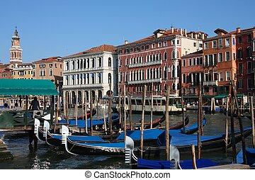 Venice - Grand Canal - Venice, Italy - gondolas on Grand ...