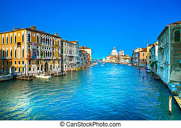 Venice grand canal view, Santa Maria della Salute church landmark. Italy, Europe.