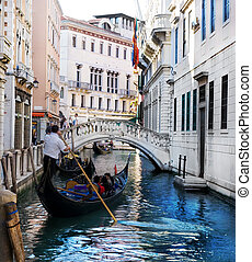 Venice Grand canal with gondola, Italy - Venice Grand canal...