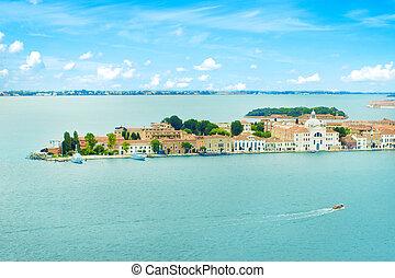Venice Grand canal with gondolas and Rialto Bridge, Italy in sum