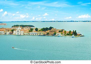 Venice Grand canal with gondolas and Rialto Bridge, Italy in summer bright day