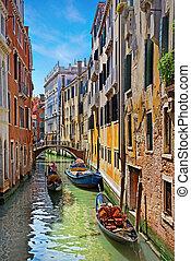 Venice Grand canal with gondolas