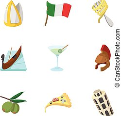Venice icons set, cartoon style