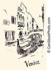 venice italy, 葡萄酒, 街道, 平底小船, 雕上