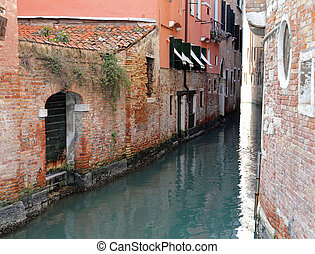 Venice Italy A Narrow Canal with old houses