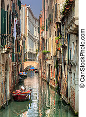 Venice, Italy. A romantic narrow canal and bridge
