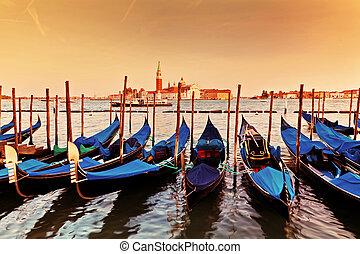 Venice, Italy. Gondolas on Grand Canal at sunset