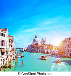 Venice, Italy. Grand Canal and the Salute at sunny day. ...