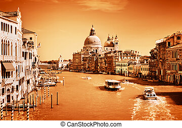 Venice, Italy. Grand Canal and the Salute basilica Vintage, ...