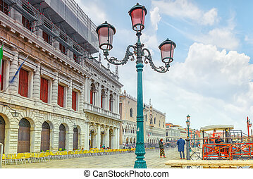 VENICE, ITALY - MAY 11, 2017 : Embankment of the Grand Canal and the Doge's Palace (Palazzo Ducale) ,Venice. Italy.