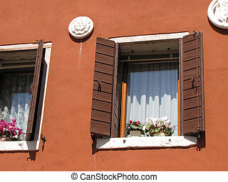 venice italy old building with flower