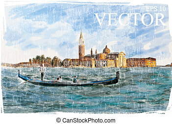 Venice, Italy - Piazza San Marco, watercolor style