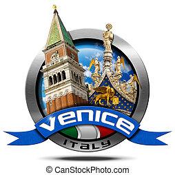 Venice Italy - Round Metal Icon