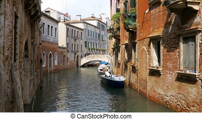 Water Canal of Venice, Italy. Narrow Streets of Venice. -...