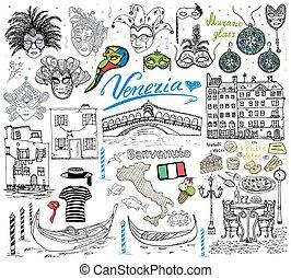 Venice Italy sketch elements doodle