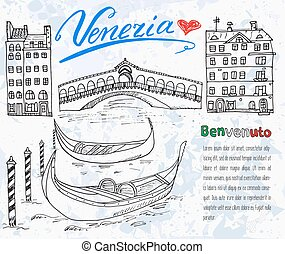 Venice Italy sketch elements doodle