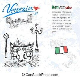 Venice Italy sketch elements.