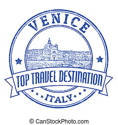 Venice, Italy stamp - Top travel destination grunge rubber...