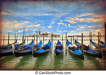 Venice, Italy - Venice with gondolas on Grand Canal against...