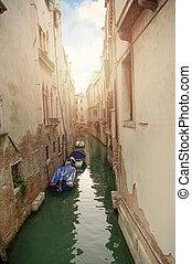 Venice, Italy. Venetian canal with boats.