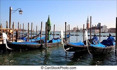 Venice, Italy - Venice with gondolas on Grand Canal against...