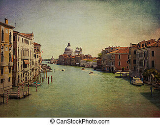 Venice, Italy - view of Grand Canal and the baroque domes of Saint Mary of Health church