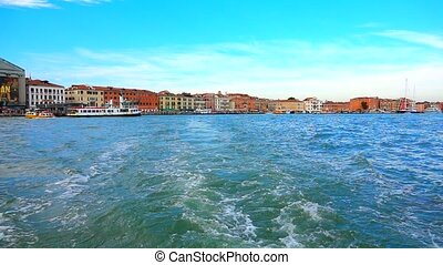 Venice Italy - view of Venice from the sea.  slowmotion