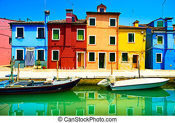Venice landmark, Burano island canal, colorful houses and ...
