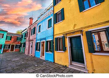 Venice landmark, Burano island canal, colorful houses