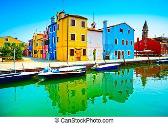 Venice landmark, Burano island canal, colorful houses, church an