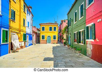 Venice landmark, Burano island street, colorful houses, Italy
