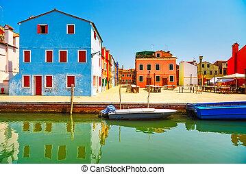 Venice landmark, Burano old market square, colorful houses, Italy