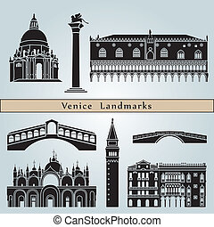 Venice landmarks and monuments isolated on blue background...